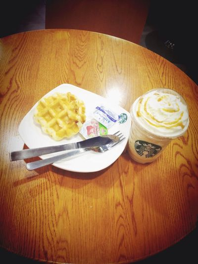 Some alone time at the airport Alone Starbucks Waffle Frappacino