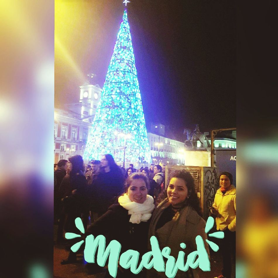 Hermanas Here Belongs To Me Christmas Decoration Christmas Tree Christmas Lights Adults Only Real People Night Multi Colored People Christmas Illuminated One Woman Only City Madrid, Spain Make Magic Happen Only Women CumpleañosFeliz Representing Travel Event Indoors  Adult One Person