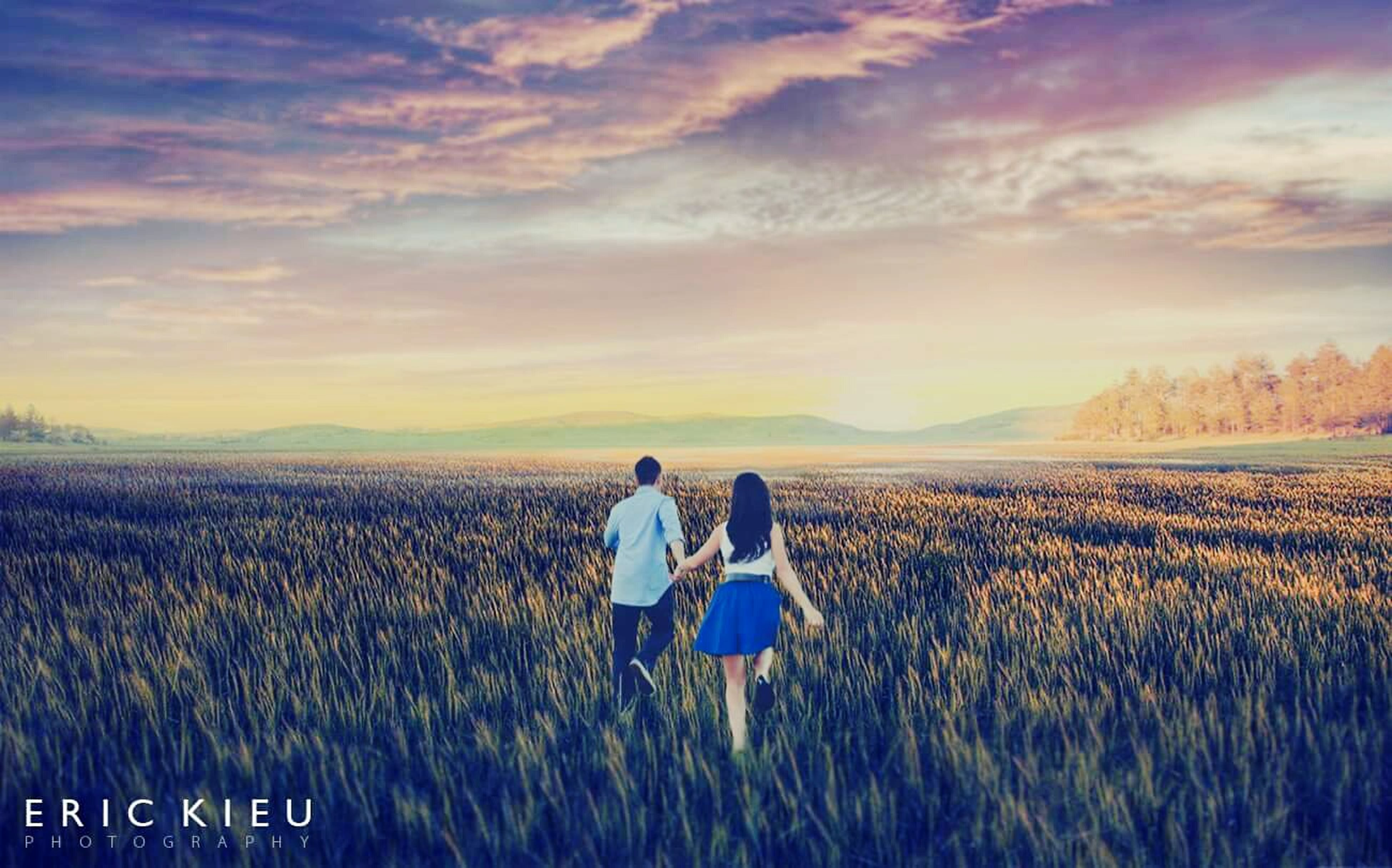 field, lifestyles, landscape, leisure activity, sky, sunset, rear view, tranquil scene, rural scene, scenics, tranquility, nature, beauty in nature, agriculture, standing, cloud - sky, men, person