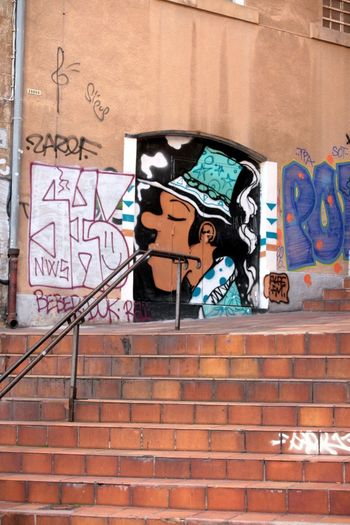 Graph Stairs Escalier Art De La Rue Graffiti Brick Wall Street Art Day No People Architecture Outdoors