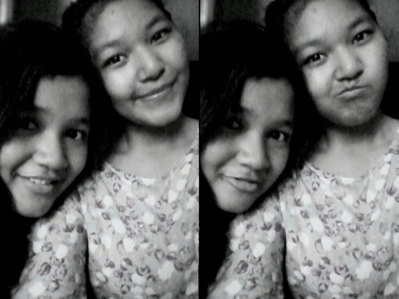 Black And White Selfie Sister Flowery