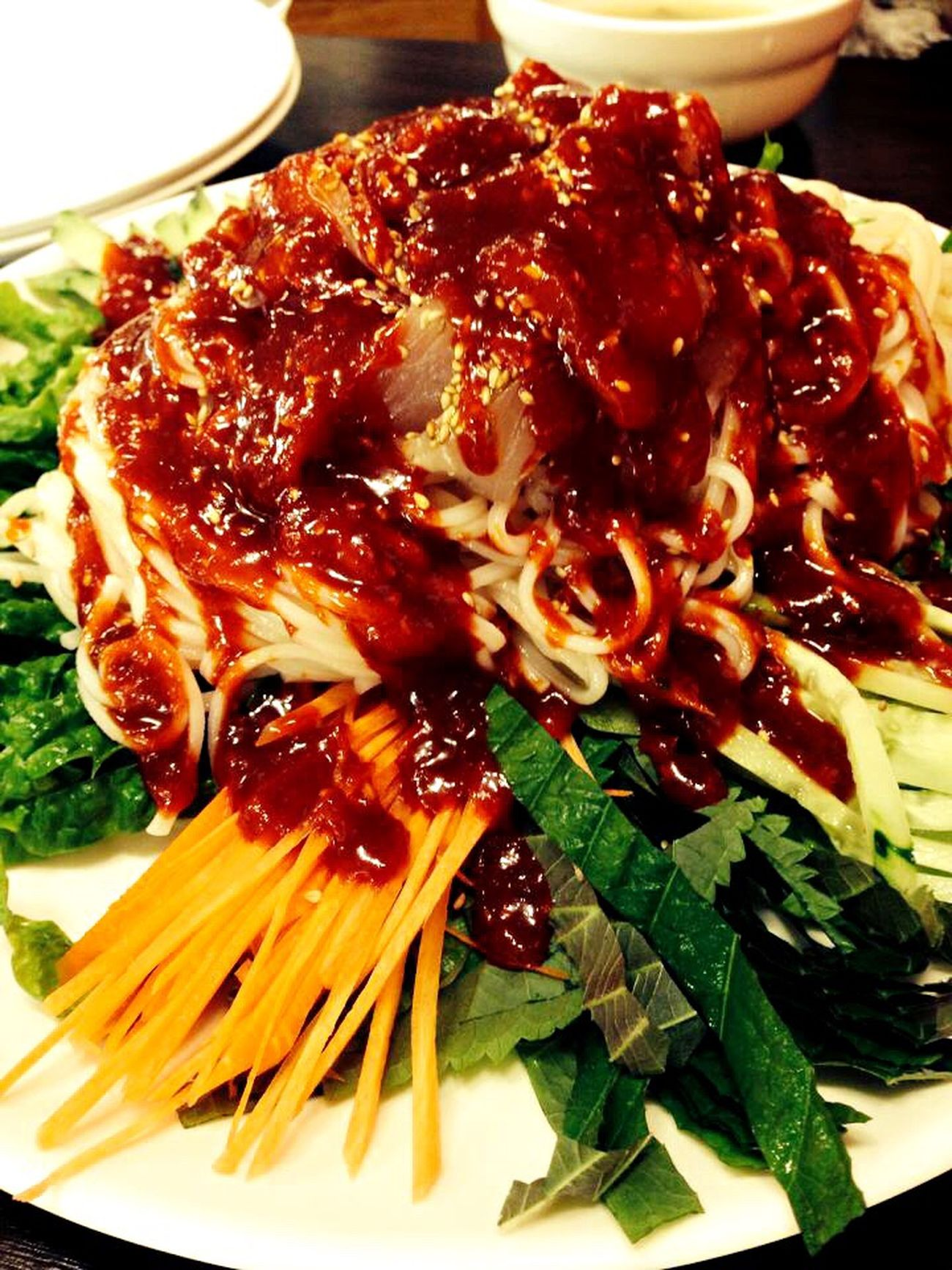 Noodles Sashimi  Noodle With Sliced Raw Fish Delicious Yummy Bibim Noodles Korean Food Food Foodporn Spicy Food Hello World Localfood Udo Enjoying Life Hello World Taking Photos IPhoneography Mobilephotography