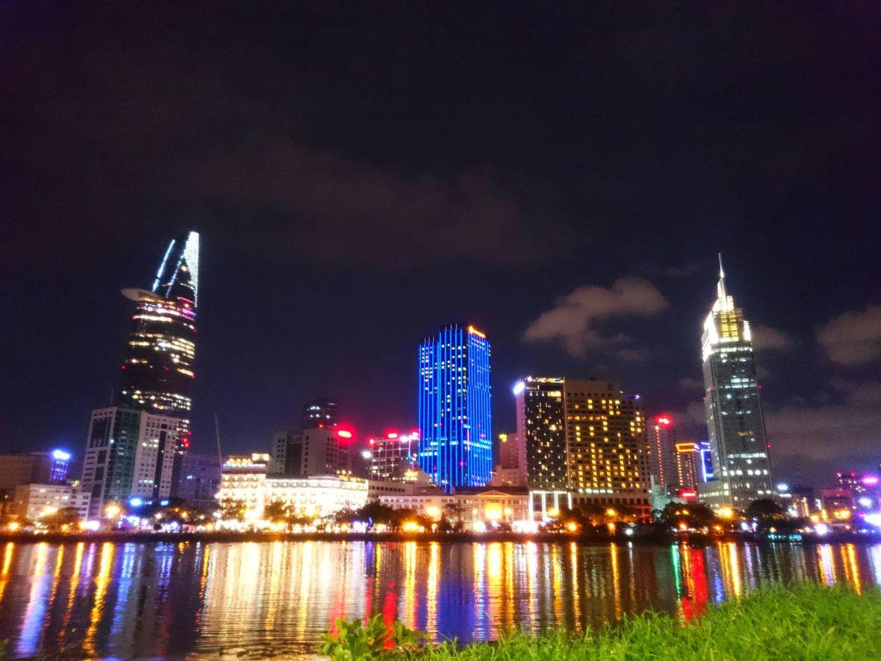 Night Saigon Vietnam Saigon Night City City Life Outdoors Building Bitexco River Colorful SaigonRiver Reflections