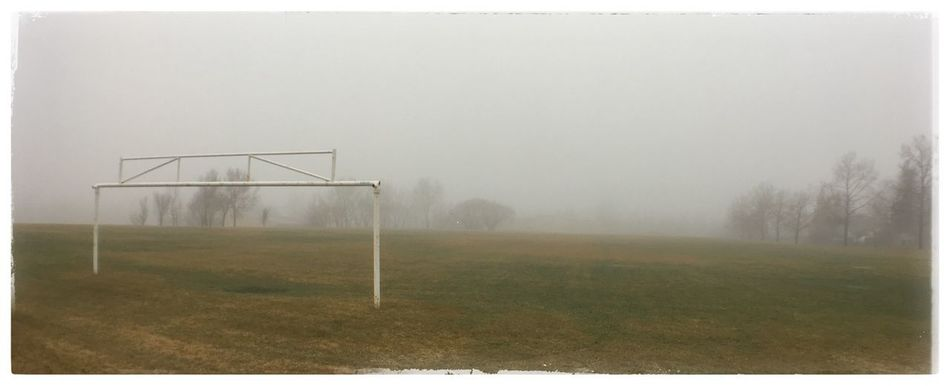 Lonely foggy field. Foggy Fog Weather Field Soccer Goal Soccer Field Mist Photo Of The Day Photography Project 365
