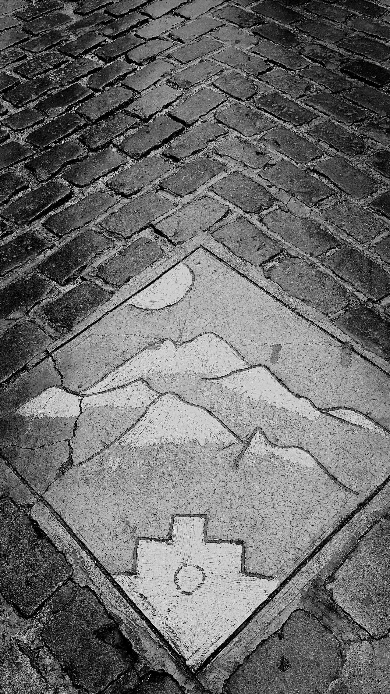 Road Close-up Street Photography Polished Surface Polished Brick Road Road Cobblestone Pattern Drain Streetart Black And White Photography Blackandwhite Photography