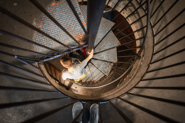 Spiral Staircase Industrial Stairs Stairs & Shadows Light And Shadow Architecture Built Structure City Museum St Louis Children Playing Perspective The Architect - 2016 EyeEm Awards
