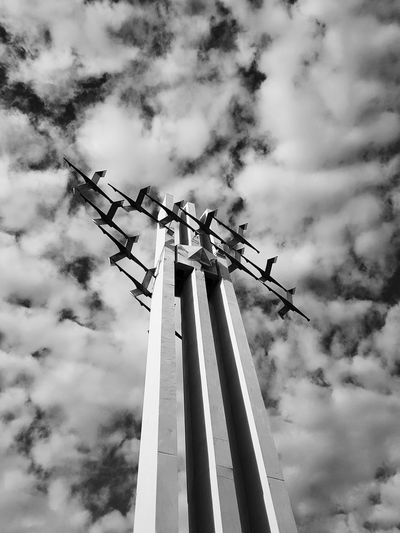 Communication Low Angle View Sky Cloud - Sky Day Monument Blackandwhite Black And White Black & White Monochrome Outdoors No People Nature