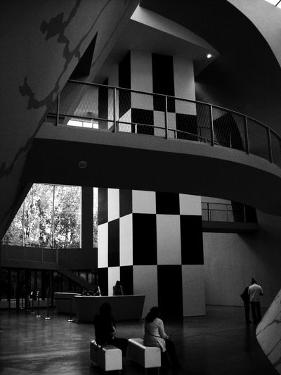 Inside the museum. Architecture Black And White Blackandwhite Blackandwhite Photography Built Structure Comic Day Hergé Museum Indoors  Medium Group Of People Men Modern Modern Architecture Museum People Real People Hanging Walkways