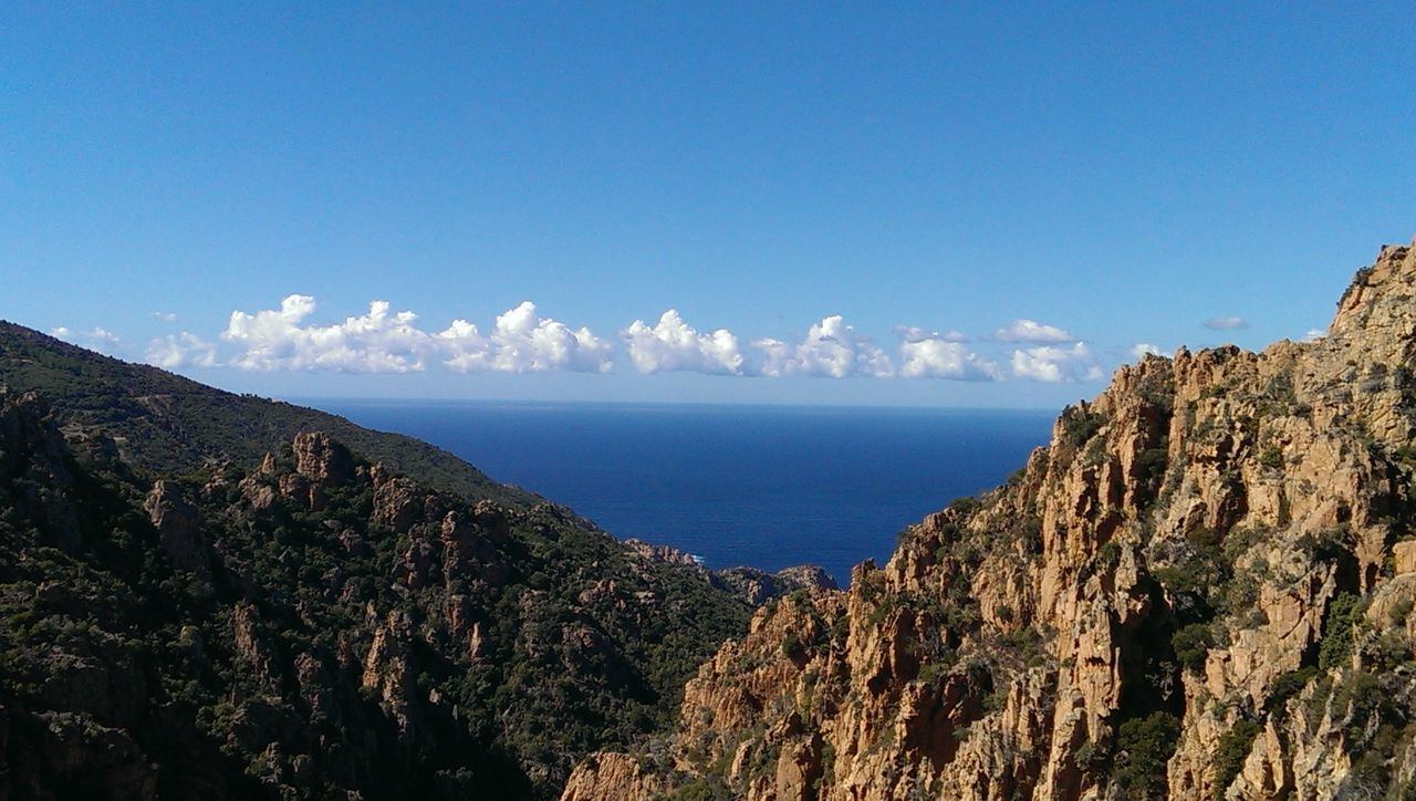Beauty In Nature Blue Sky Blue Sky White Clouds Corse Day First Eyeem Photo Frankreich Korsika Landscape Mediterranean  Mittelmeer Mountain Mountain Range Nature No People Outdoors Scenics Sea Sky