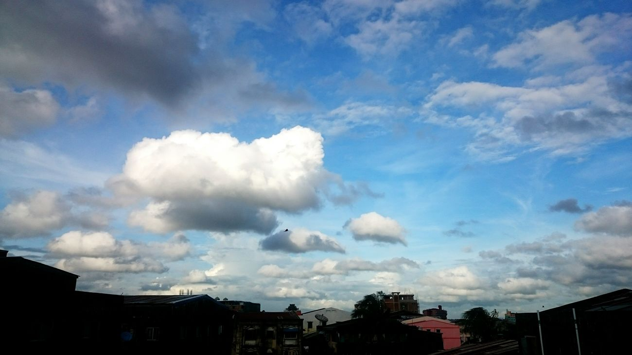 Home Is Where The Art Is At Home Home View From The Balcony Nature Photography Blue Sky Sky And Clouds Sky With Smart Phone Fluffy Clouds in Yangon, Myanmar