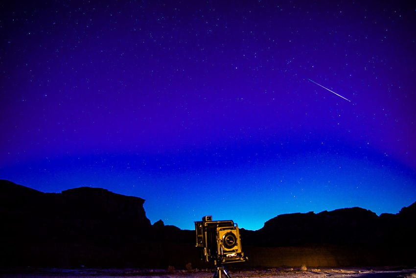 Shootingstar Perseid Meteor Shower Nightphotography Starscape Perseid2016 Speedgraphic Astronomy Vintage Camera Astrophotography Black And Blue