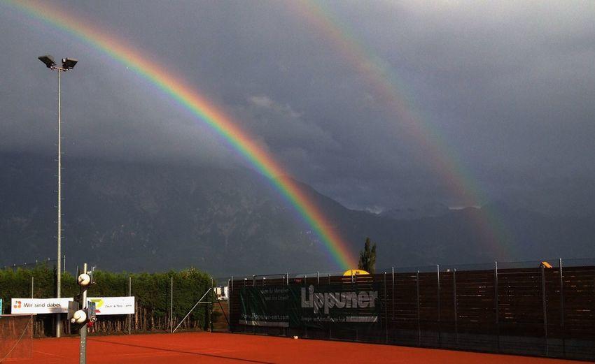 Double Rainbow Rainy Day Tennis Court