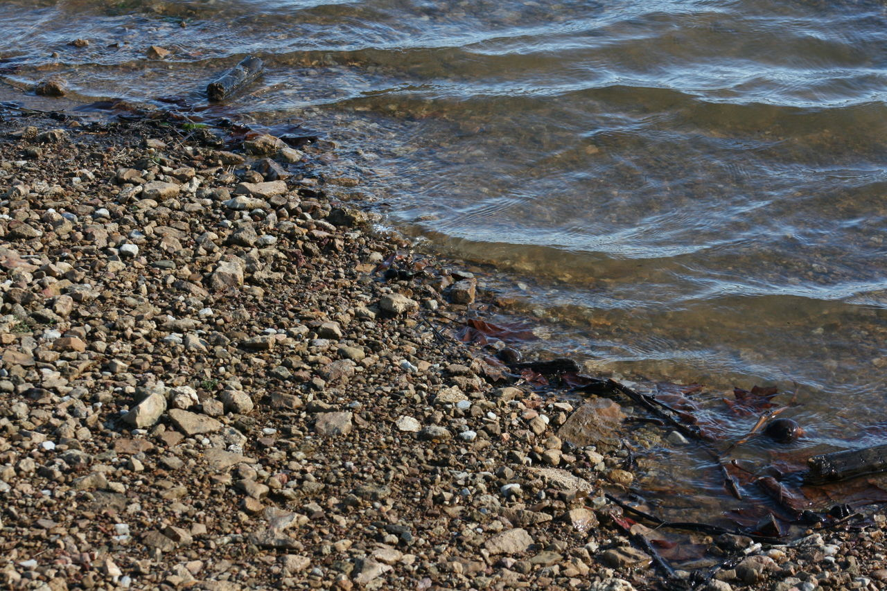 Beach Beauty In Nature Day Lake Lake Monroe Lakes  Lakeshore Lakeside Nature No People Outdoors Pebble Pebble Beach Pebbles Pebbles On A Beach Rocks Rocks And Water Sand Shore Water Wave Backgrounds Background