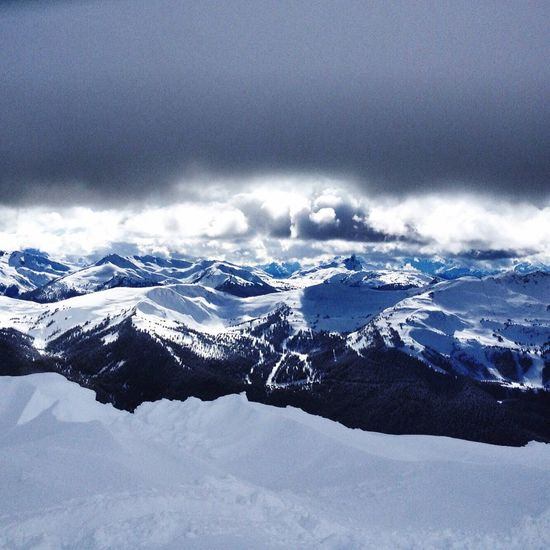 Amazing view looking over the Mountains Snow Skiing