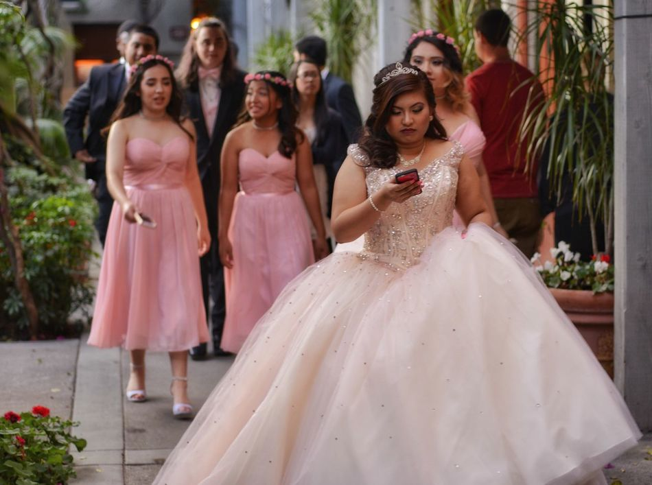 Texting party Bride Wedding Dress Celebration Wedding Friendship Anticipation Life Events Group Of People Happiness People Full Length Togetherness Bridesmaid Portrait Smiling Indoors  Only Women Young Adult Day Adults Only