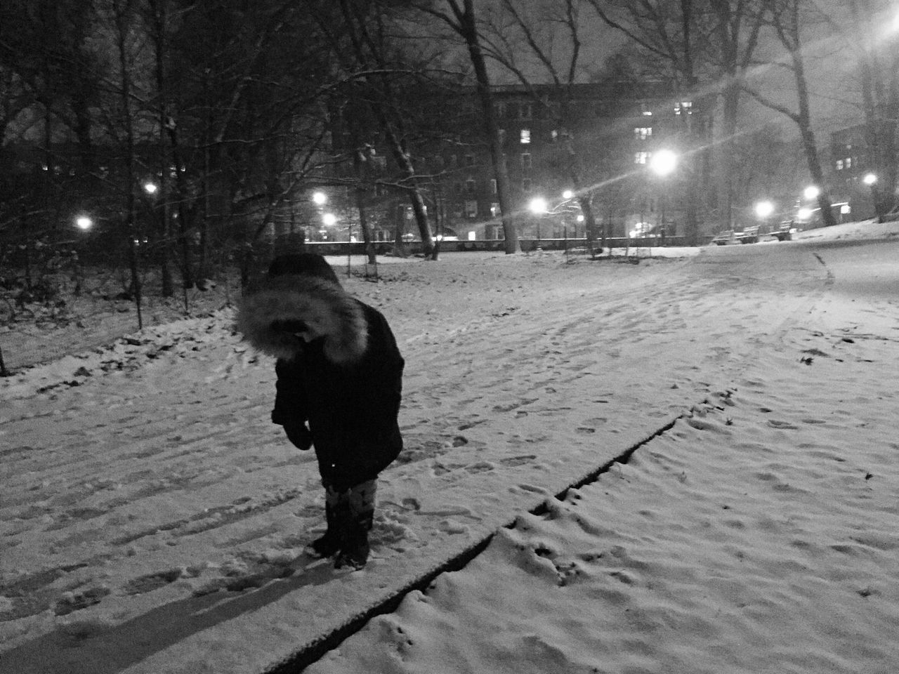Pondering snow shadow. Snow ❄ Winter Wonderland Brooklyn Prospect Park