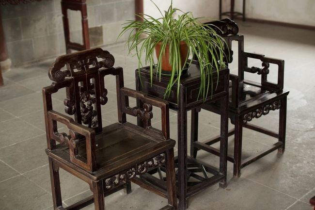 The don't look very comfortable! Absence Ancient Arrangement Chinese Culture Day Empty Furniture No People Plant Tourism Wood - Material