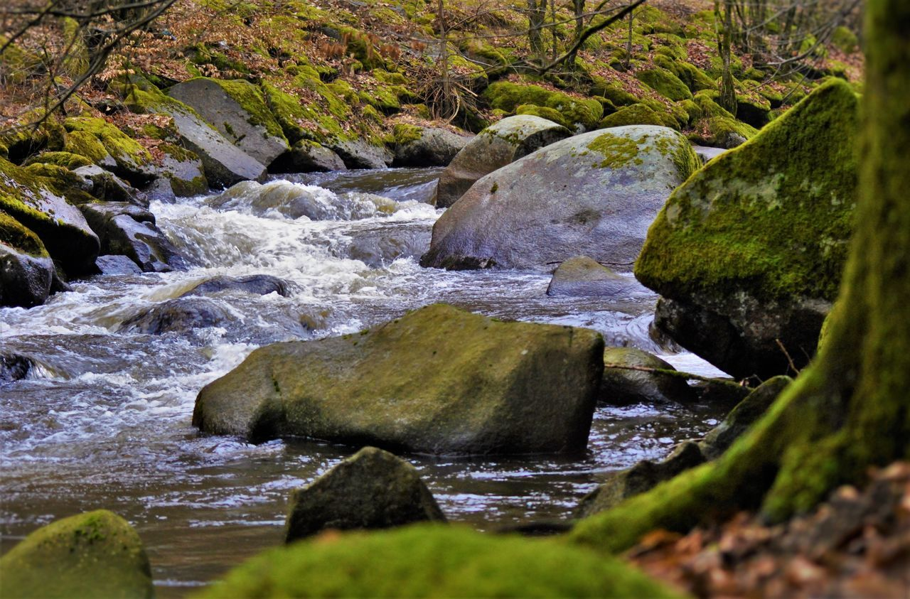 Scenic View Of Stream Flowing Amidst Rocks