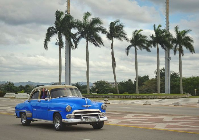 Santa Clara Cuba Blue Nostalgicmoments Palm Trees Old Car Wind And Clouds
