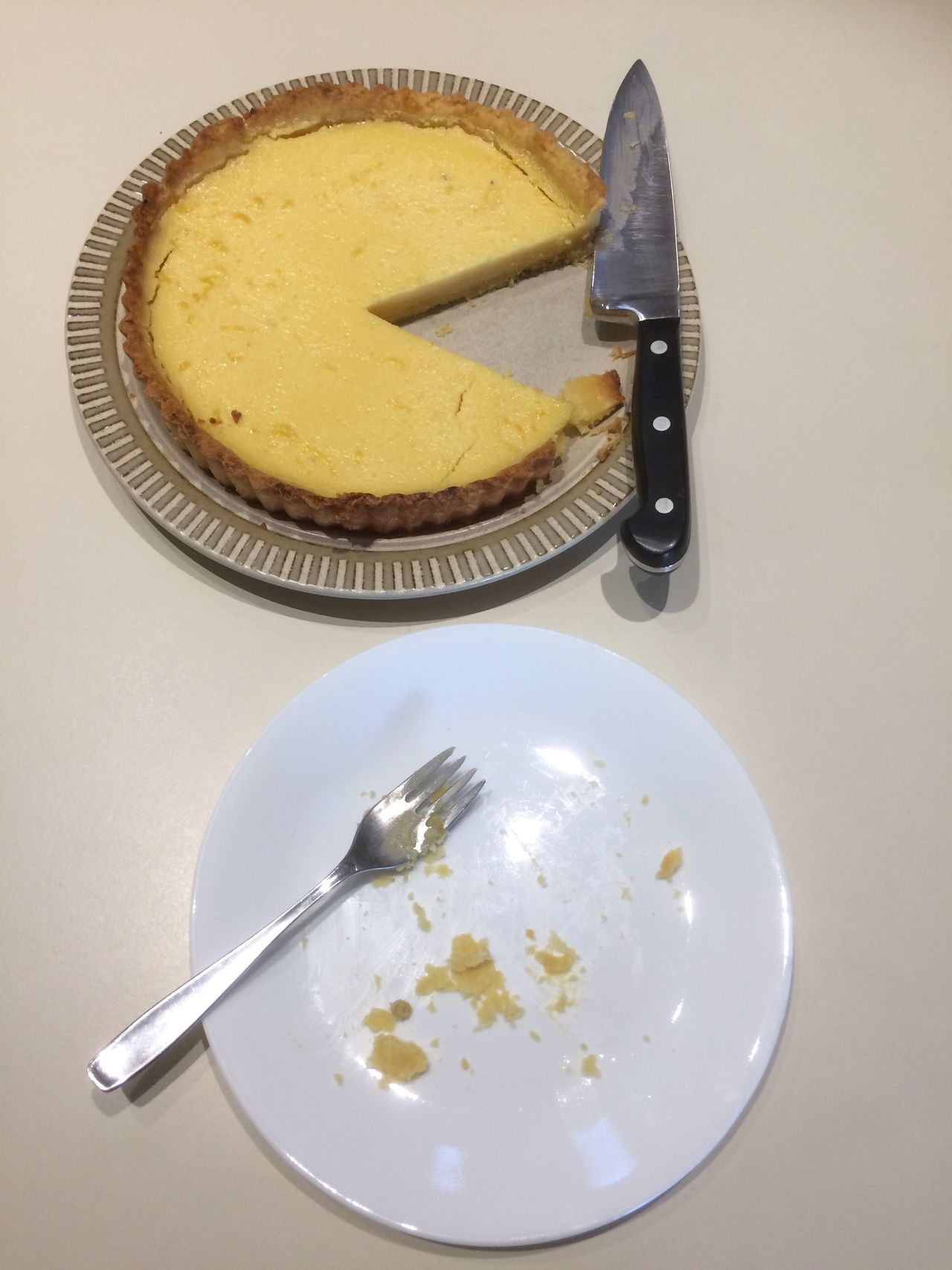 Eaten Lemon Tart Plate Food And Drink Food Table Indoors  High Angle View Fork Directly Above Ready-to-eat No People Cake Freshness Serving Size Healthy Eating Close-up Sweet Food Day