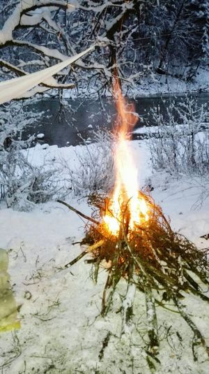 A beautiful fire at the river in winter (2017) Heat - Temperature Nature Flame No People Outdoors Burning Winter EyeEmNewHere