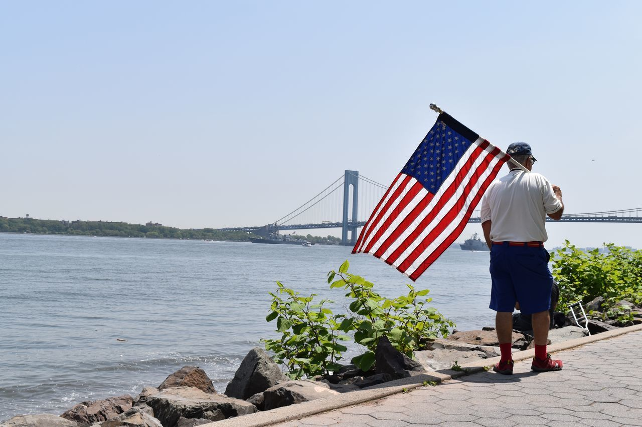 Beautiful stock photos of veteran's day, patriotism, flag, full length, one person