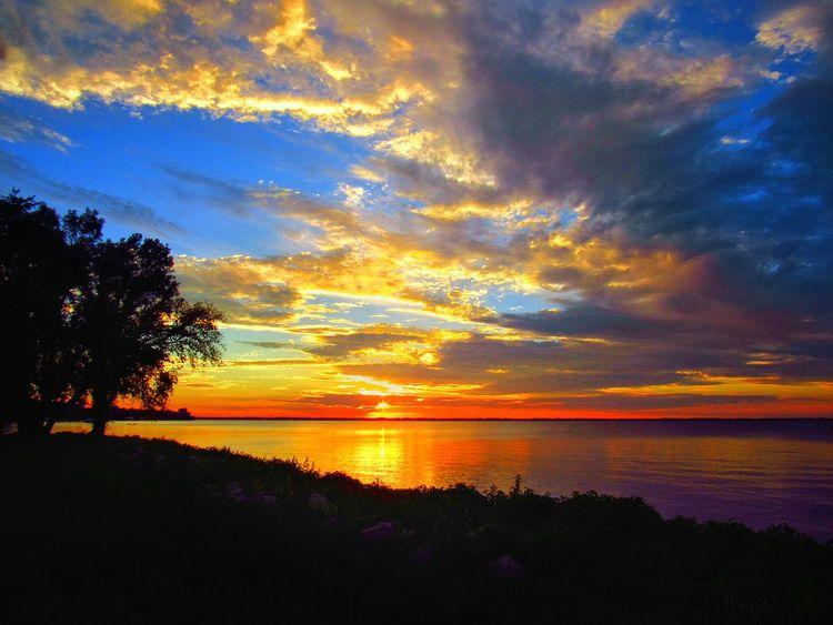 Lake Winnebago Sunset Sunset Sky Nature Beauty In Nature Tree Reflection Silhouette Outdoors No People Tranquil Scene Water Scenics Tranquility WisconsinSunset Wisconsin Landscape_photography Landscape Photography Seascape Photography First Eyeem Photo