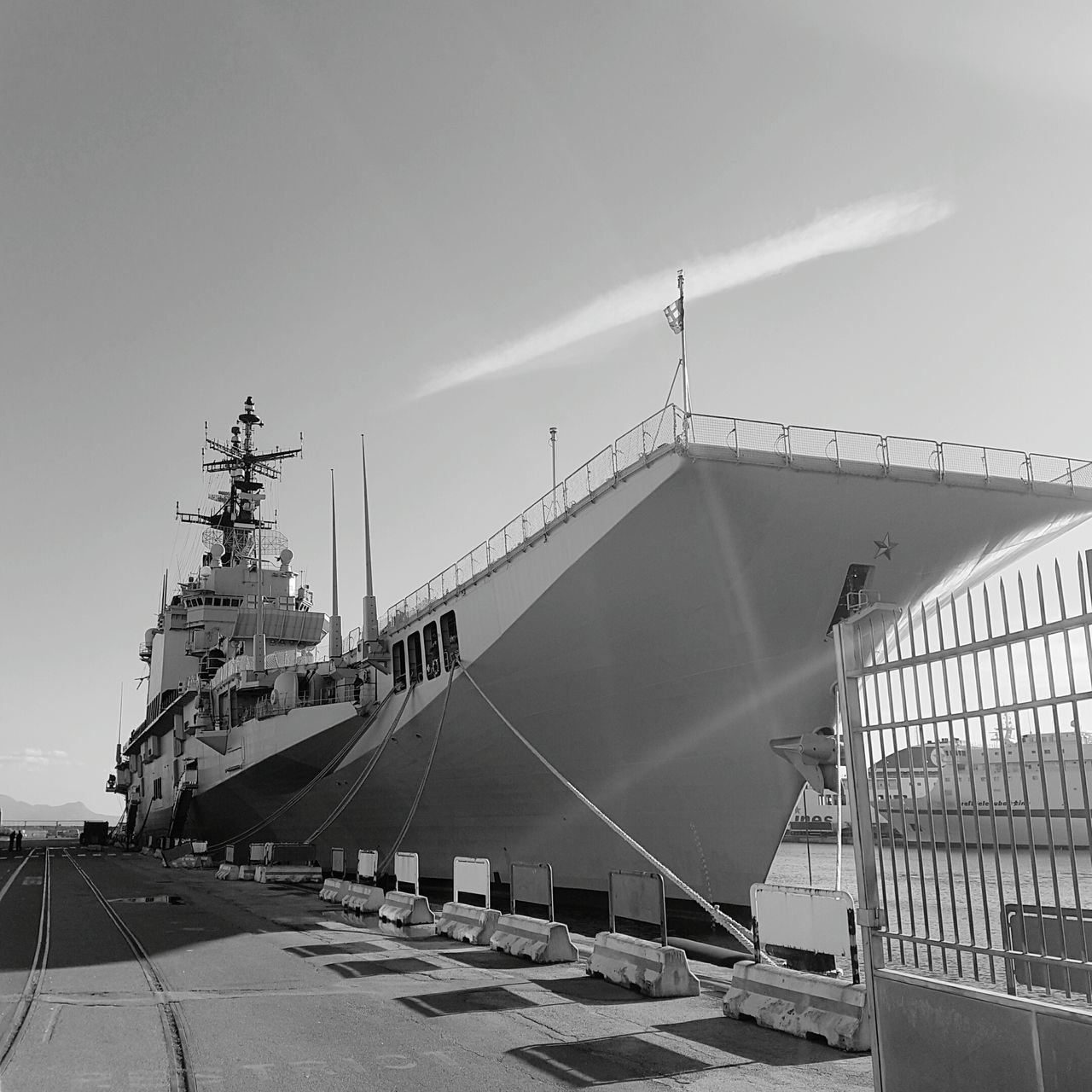 Garibaldi in Naples harbour. Outdoors Harbor No People Napoli Italy Napoli_naples Napoli Waterfront Sea Life Water Battle Of The Cities Enjoying Life Architecture Sea And Sky Sea View Blackandwhite Black & White Black And White Photography Warships Warship Is Ready Militarybase Military Military Unit