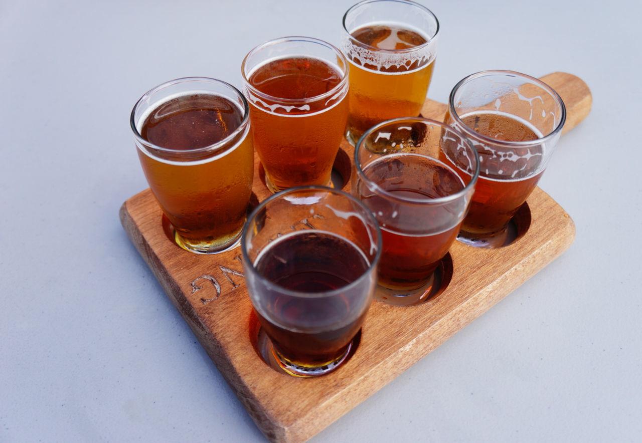 Healdsburg, Oregon craft beer Beer Beer Flights Close-up Craftbeer Drink Drinking Glass No People Sample Shot Glass Six Vertigo White Background