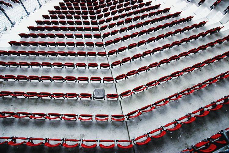 Sport Soccer Stadium No People Red And Gray STAND Spectator One Seat Free Seats Seats Available One Alone