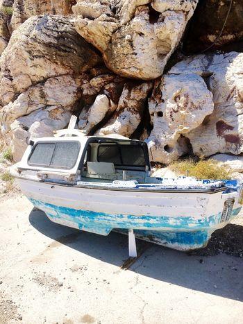 Old Boat Imonaboat Rhodos, Greece  Rocks