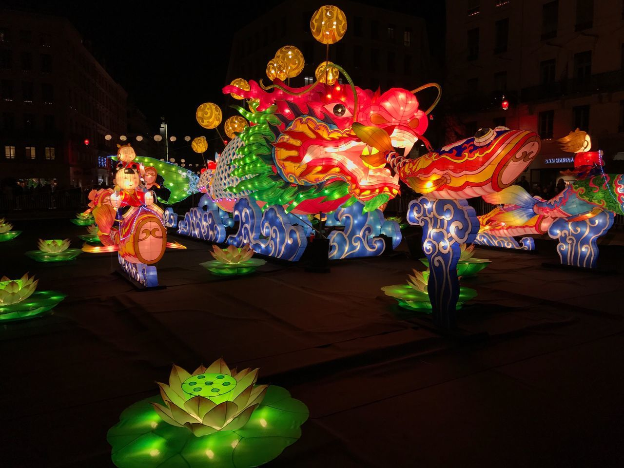 Fête des lumières, Lyon Night Illuminated Cultures Celebration Multi Colored Chinese New Year Chinese Lantern Chinese Lantern Festival Outdoors No People Chinese Dragon Fete Des Lumieres Lyon France Parade