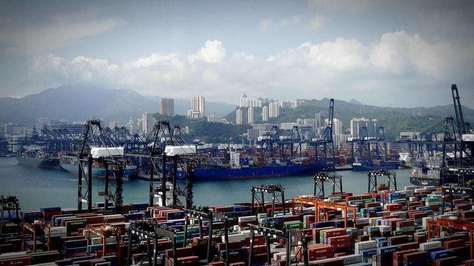 Container Terminal Kwai Chung Hong Kong Discoverhongkong DMC_CM1 Leica Mobile Photography Container Terminal Sky And Clouds Walking Around