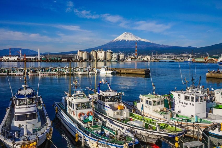 Sky Mountain Water Architecture Built Structure Moored Cloud - Sky Nautical Vessel Day Building Exterior Mountain Range No People Transportation Sea Nature Outdoors Blue Scenics Harbor Mtfuji Fujisan Fujimountain