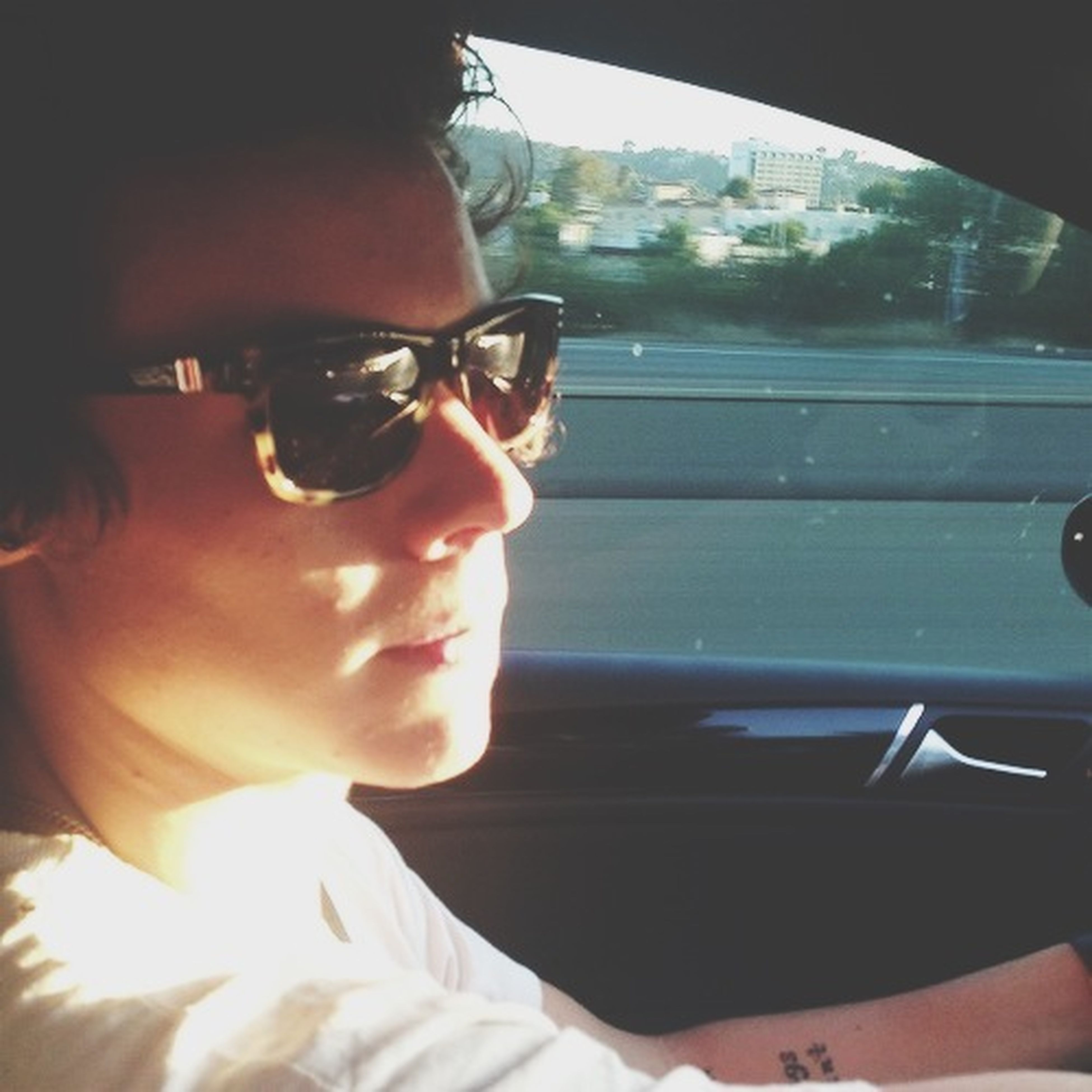 lifestyles, young adult, person, leisure activity, headshot, transportation, mode of transport, indoors, sunglasses, young men, vehicle interior, casual clothing, portrait, looking at camera, window, car, head and shoulders