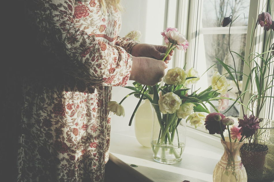 Making a bouquet of Spring flowers Bouquet Bouquet Of Flowers Dress Flower Flowers Hands Ranunculus Romantic Spring Spring Flowers Spring Has Arrived Springtime Tulip Tulips Unrecognizable Person Window Windowsill Woman Working Hands