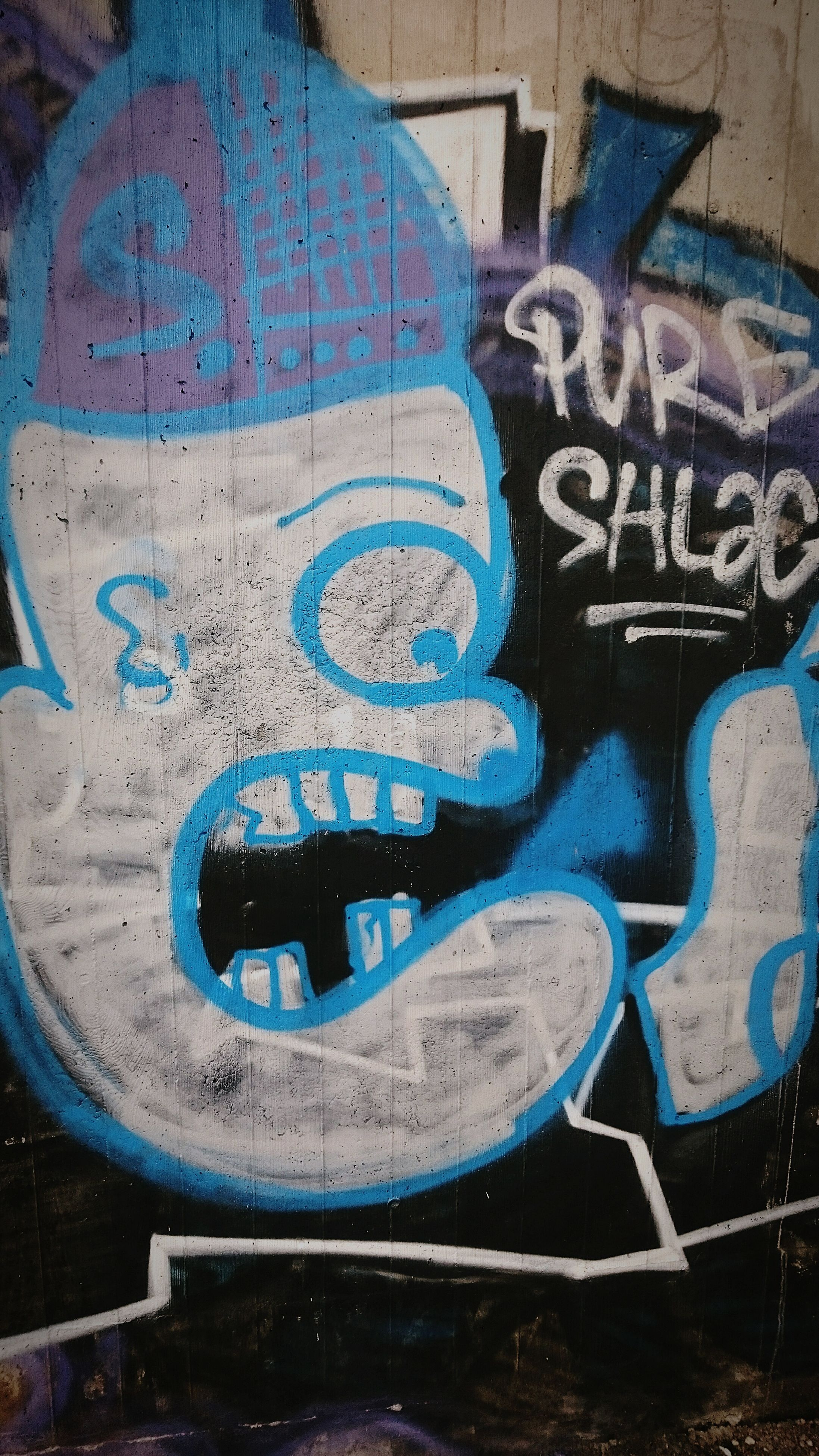 graffiti, art and craft, art, creativity, abandoned, wall - building feature, damaged, obsolete, old, messy, deterioration, run-down, indoors, weathered, close-up, built structure, blue, no people, bad condition, wall