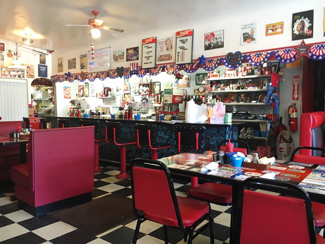 Cafe Coca-cola Theme Red White and Blue Patriotic Old Fashion Style Small Town USA