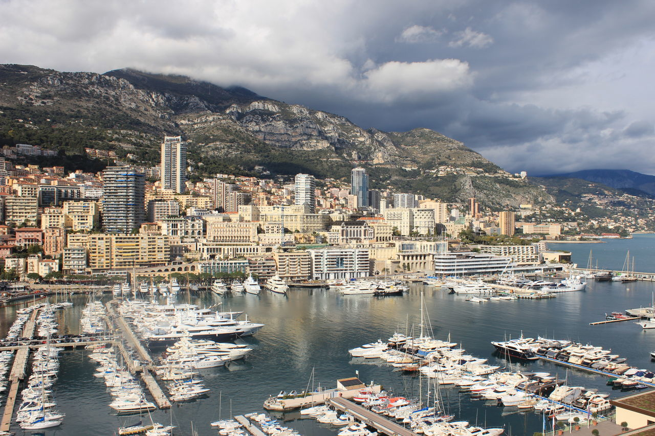 Architecture Building Exterior Business Finance And Industry City Cityscape Cloud - Sky Coastline Day Harbor Monaco Mountain Nautical Vessel No People Outdoors Sea Sky Travel Destinations Water Yacht Yachting