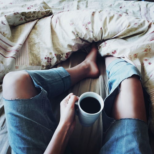 #bed #coffee #coffeediary #cup #fashion #jeans #Legs #Morning Coffee - Drink Relaxation