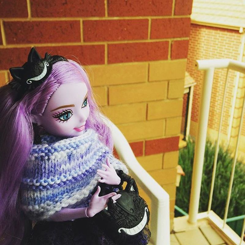 Kitty in her warmth made by @strickycub watching the unfortunate people out in the cold rain. Eah EverAfterHigh Kitty Cheshire Doll Dolls Dollsofinstagram Knitting