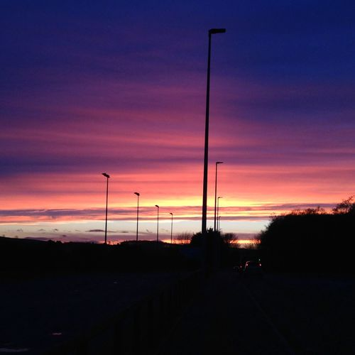 Peaceful feeling when you are on the way home at the end of the day Atmosphere Atmospheric Mood Beauty Blue End Of The Day Evening Going Home From Work Light Peace Playing With Light Romantic Silhouette Sky Street Light Sunset No Filter, No Edit, Just Photography