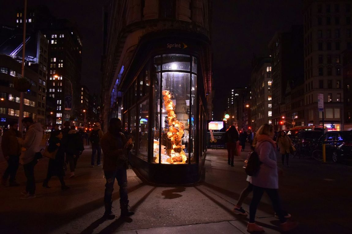 Manhattan Night Photography City Lights At Night Store Windows City Lights NYC Street View Street Photography Cristmas Decoration Skyscrapers Buildings Ironflat Buiding Finding New Frontiers Flatiron Building Christmas Decoration Christmas Lights Welcome To Black