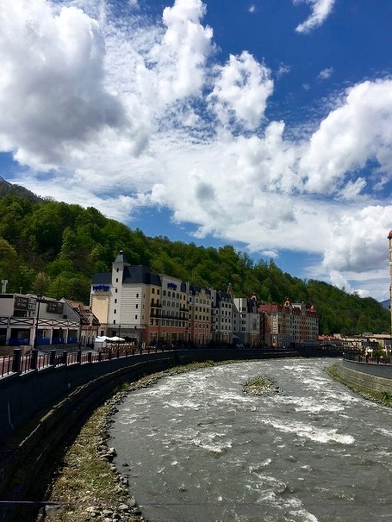 Architecture Building Building Exterior Built Structure Canal City Cityscape Cloudy Krasnaya Polyana Landscape Mountain Nature No People Outdoors Overcast Residential Building Residential Structure River Rosa Khutor Russia Sochi Town Weather Красная поляна My Sky