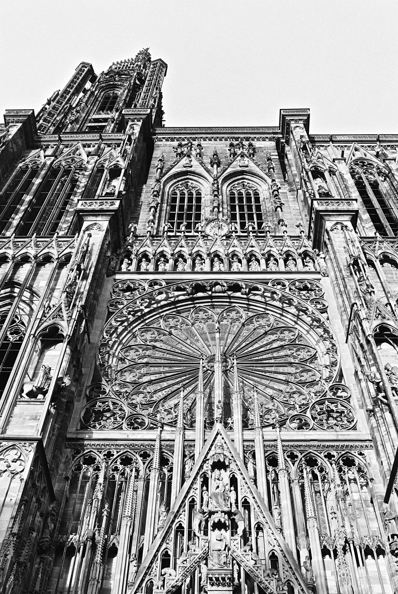 Low Angle View Architecture Built Structure Building Exterior No People Religion Day Place Of Worship Clear Sky Outdoors Spirituality Sky Rose Window Notre-Dame Strasbourg Blackandwhite Analogue Photography Film Photography Filmisnotdead 35mm