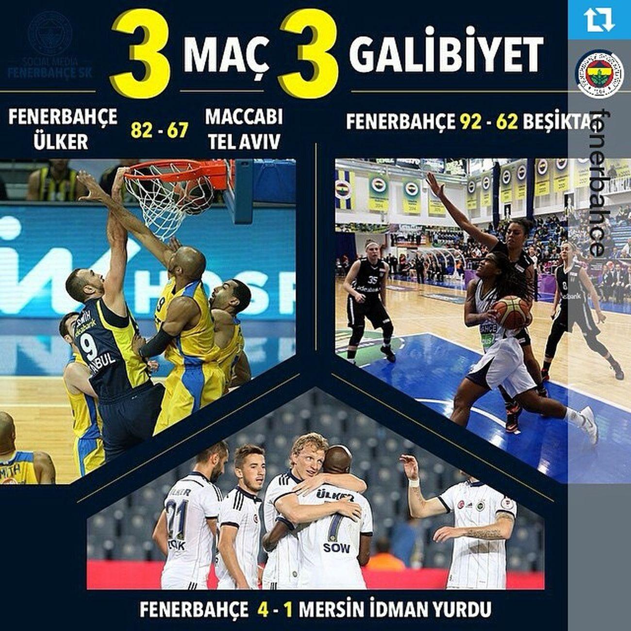 Repost @fenerbahce ・・・ 3 Maç 3 Galibiyet! Tebrikler Fenerbahce  !! InstaFB
