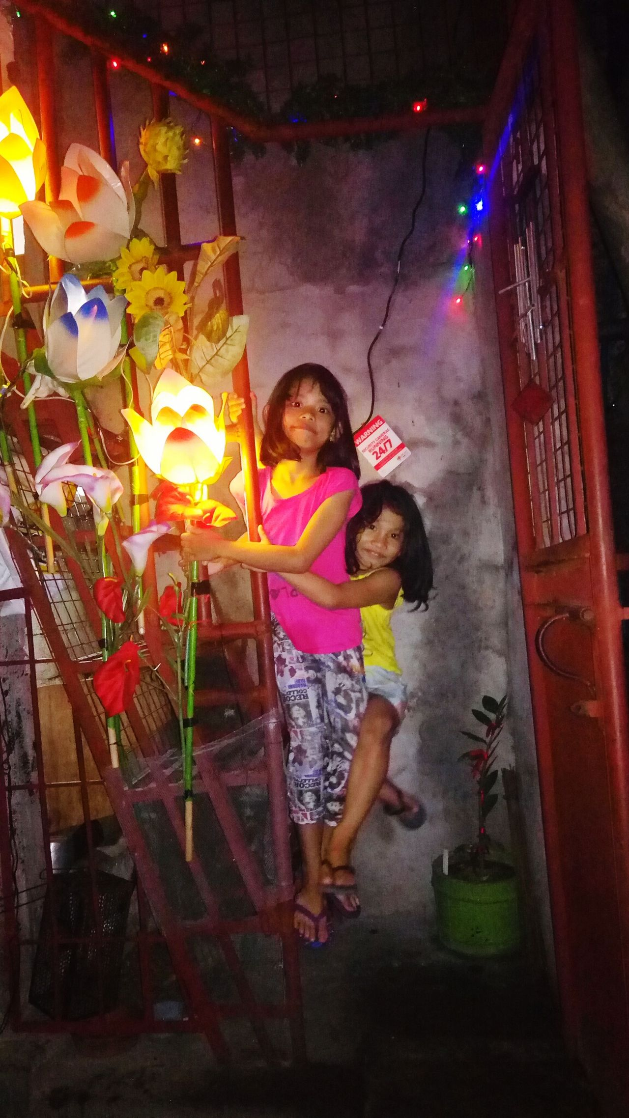 The Culture Of The Holidays Two People Child Night Fun Multi Colored Christmas Lights Christmas Decoration Christmas Children Only Exploring Style LittleRascals Littlegirl Christmas Decorations Christmastime Christmas Market Christmas Around The World Stairs Beautiful Lighting And Decoration Christmas Spirit Christmas2016