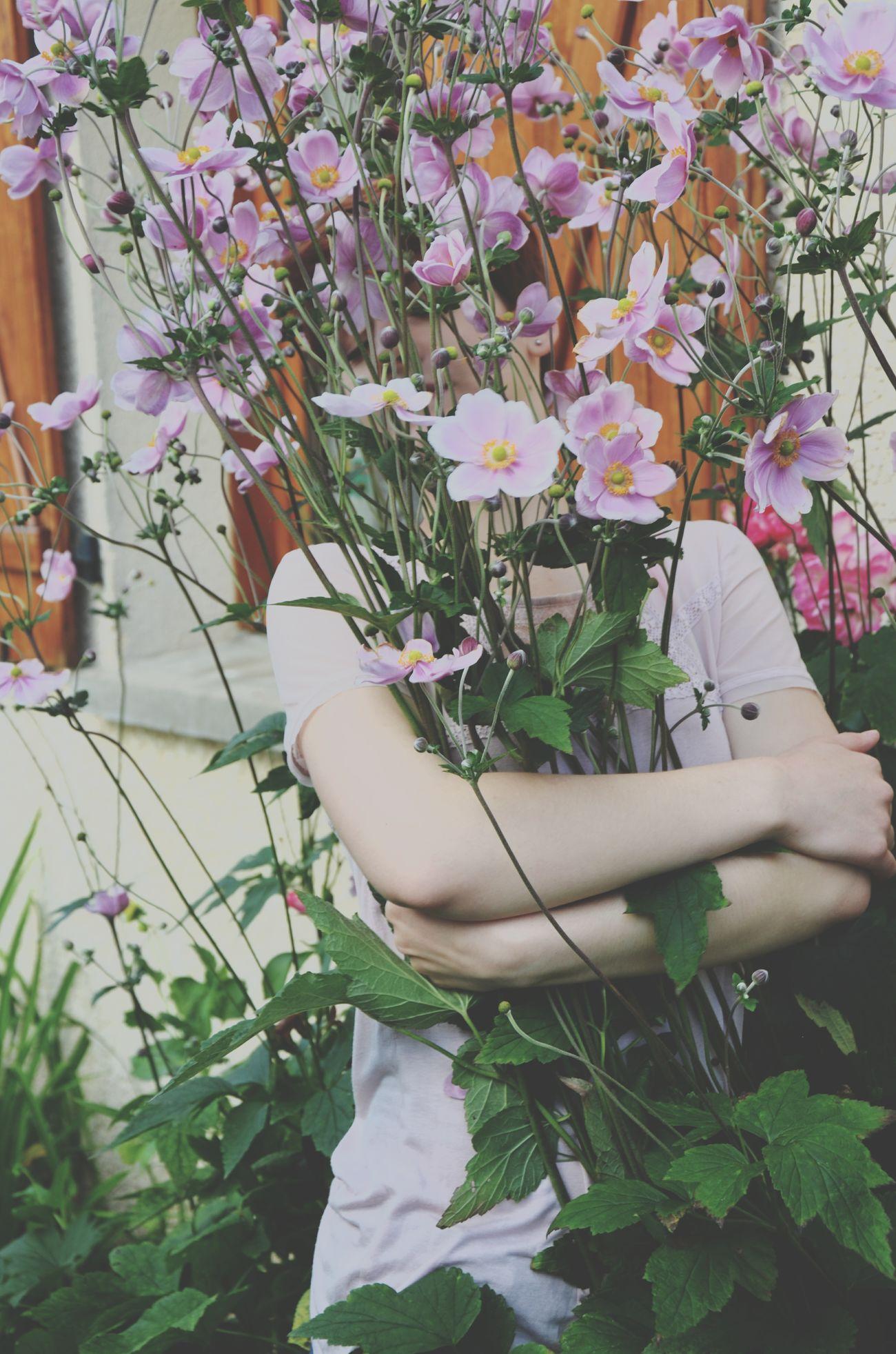 Girl Flowers Garden