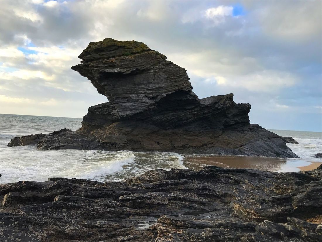 Tide going out.... Sea Sky Nature Rock - Object Rock Formation Tranquility Beauty In Nature Scenics Water No People Wave Tranquil Scene Outdoors Day Beach