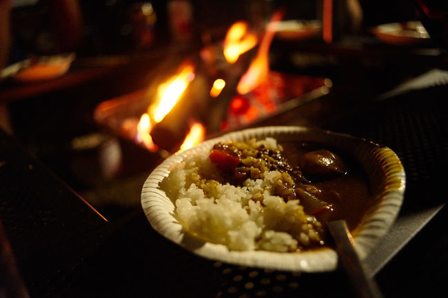 Camp Fire Camping Close-up Curry Curry Rice Dinner Eye4photography  Fire Food Heat - Temperature Night Photography No People Ready-to-eat Selective Focus Unhealthy Lifestyle